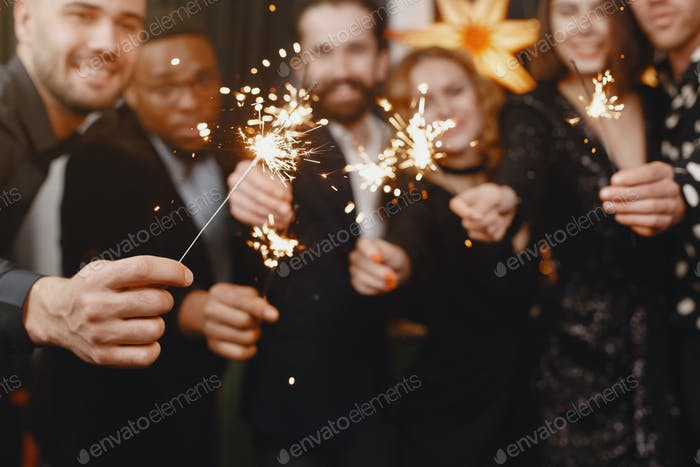 International people having fun in a party room