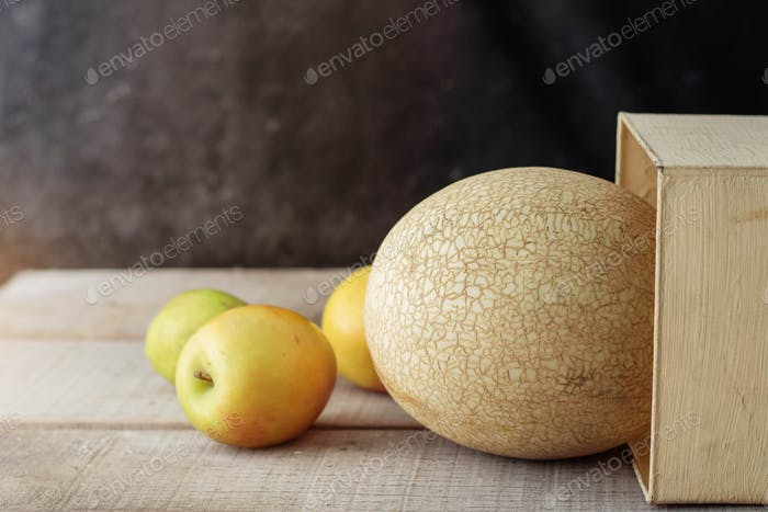 melon on wooden