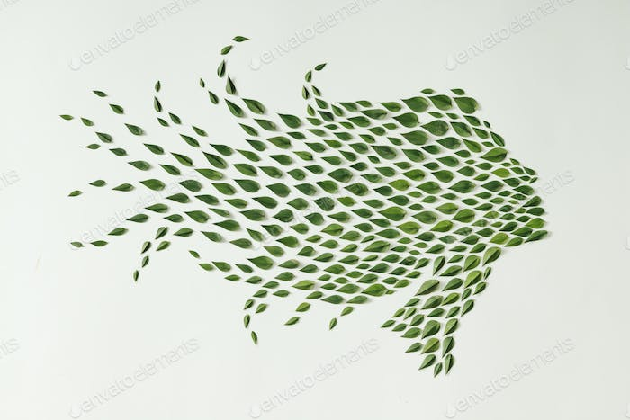 Woman silhouette made of green leaves