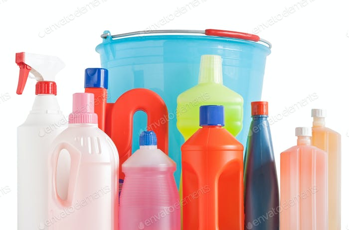 detergent bottles and bucket