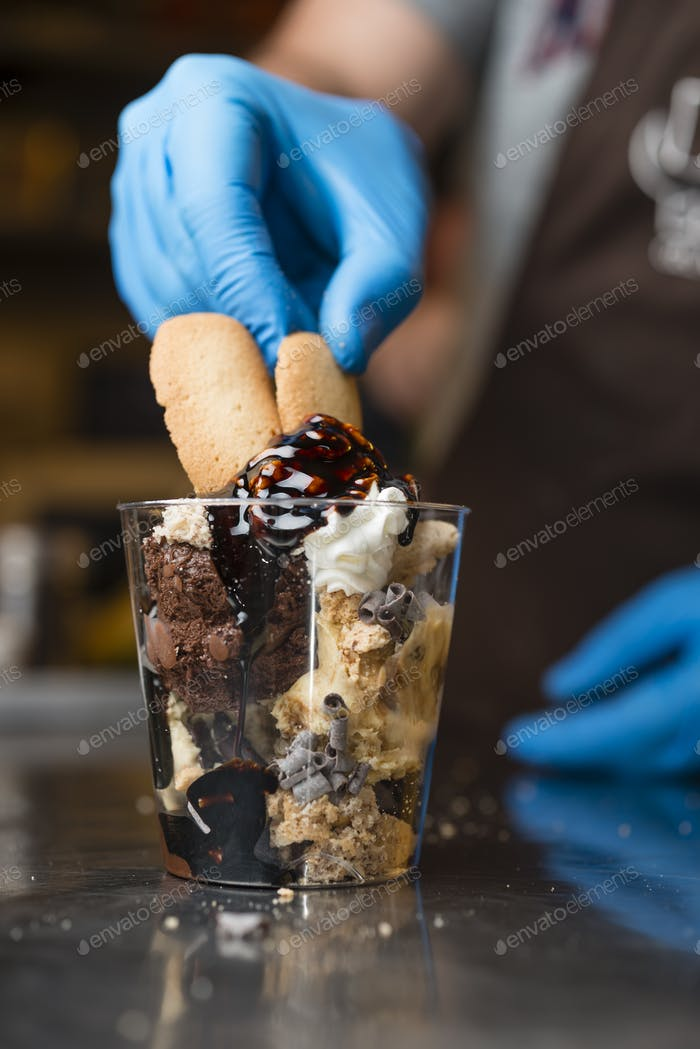 Italian ice cream artisanal preparation