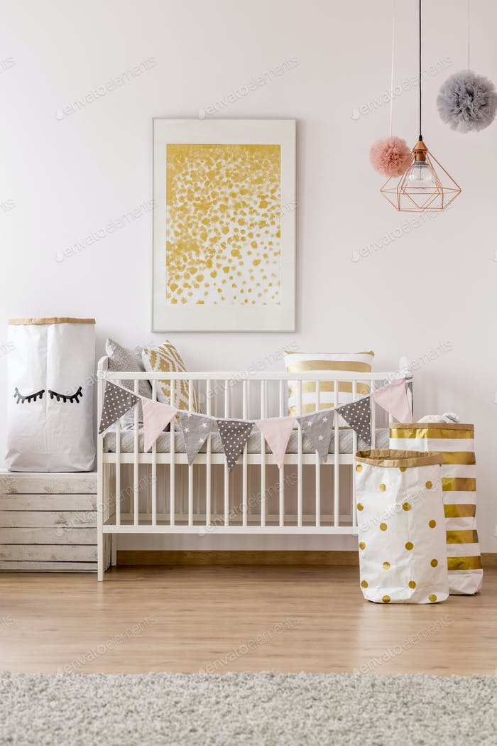 Baby room golden pattern poster