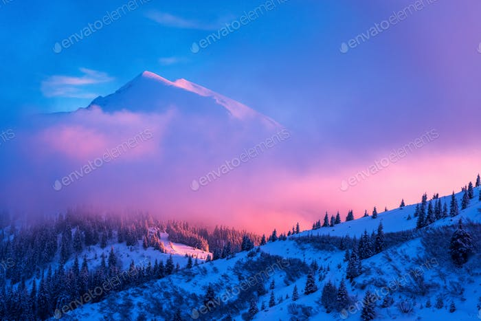 Fantastic winter landscape in snowy mountains glowing by pink evening sunlight