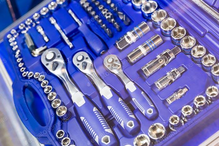 Professionelle Werkzeugkoffer, Köpfe und Ratschen Nahaufnahme