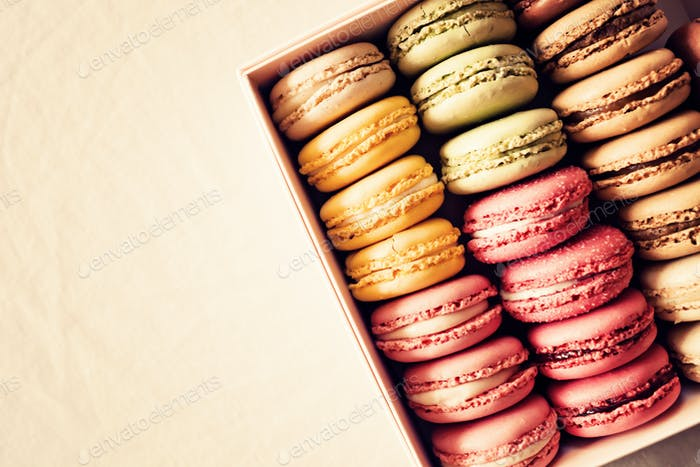 French macaroons in a box
