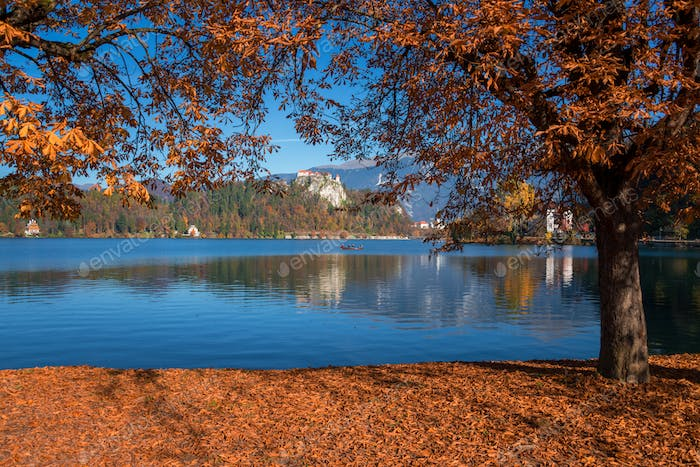 Bled lake on a beautiful autumn morning