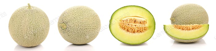 Melon full ball and cut half on white background.