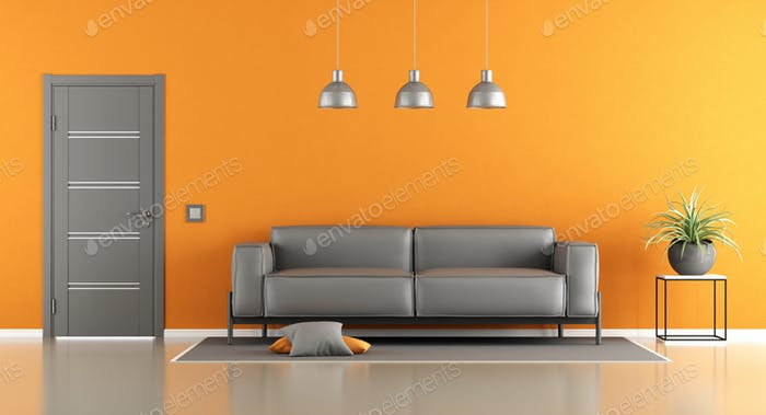 Gray and orange living room