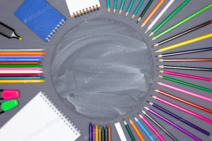 Childrens creativity, back to school concept background
