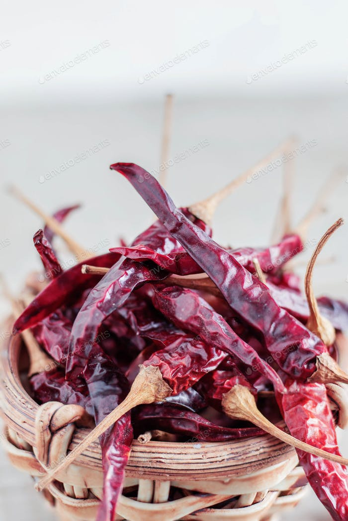 dried chillies with white background