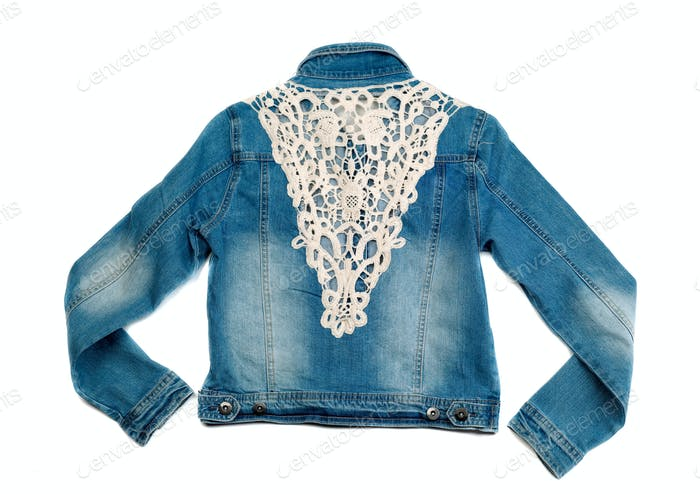 Blue denim jacket with lace. View from the back