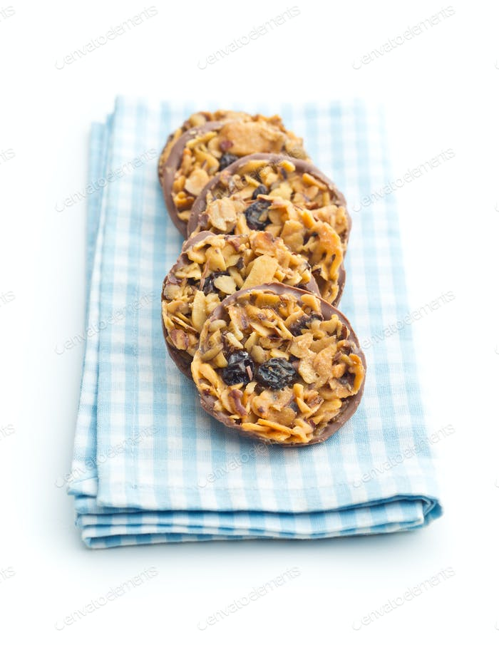 Chocolate chip cookies with nuts and raisins.