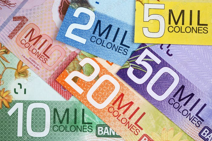 Costa Rican money - colon a background