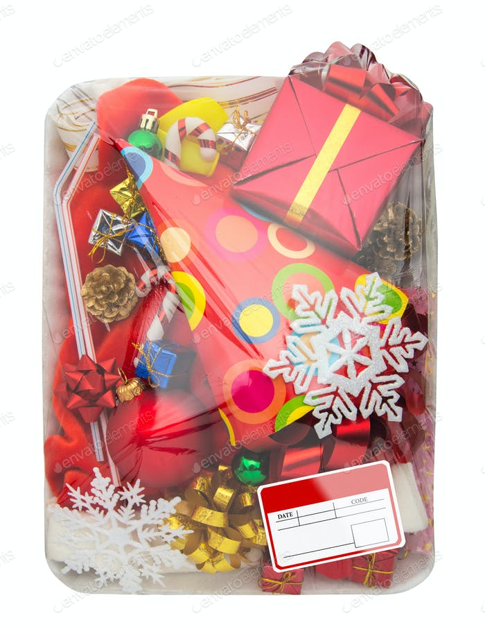 Wrapped plastic food container with  gifts box