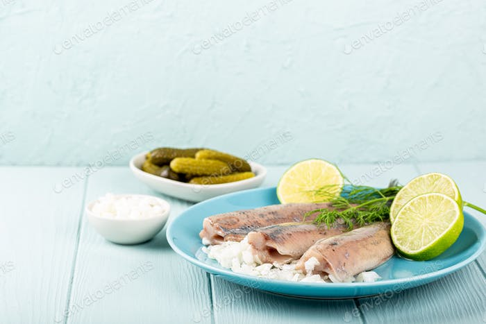 Traditional dutch food herring fish