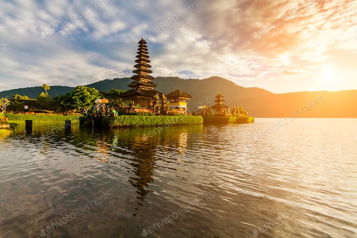 Pura Ulun Danu Bratan, Hindu temple on  lake landscape,