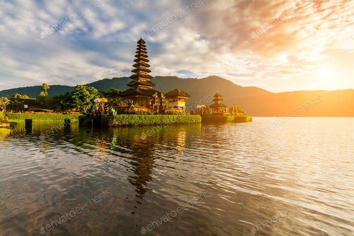 Pura Ulun Danu Bratan, Hindu temple on  lake landscape,