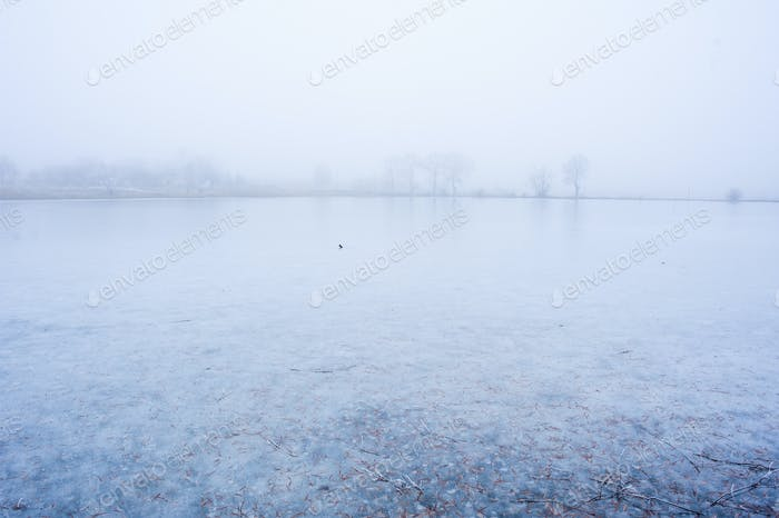 Frozen lake for background