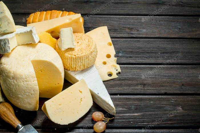 Different types of cheese.