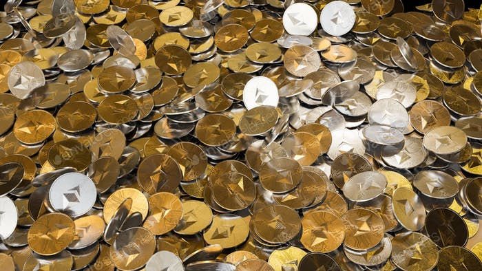 Cryptocurrency Ethereum golden coins spilling on the table