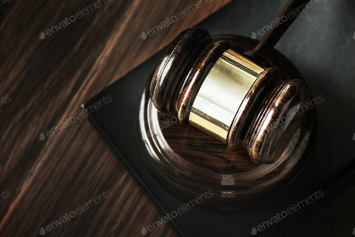 Closeup of gavel judgement concept