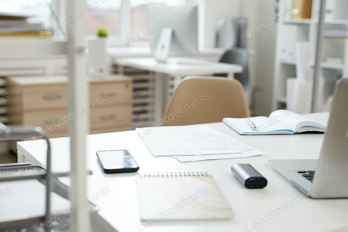 Empty workplace at office