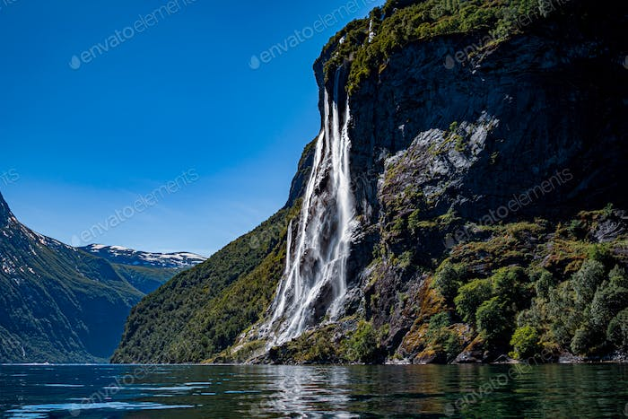 Geiranger fjord, waterfall Seven Sisters. Beautiful Nature Norwa