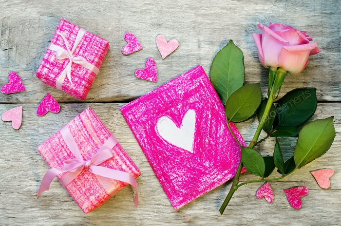 Valentine's background with gifts, flower and card