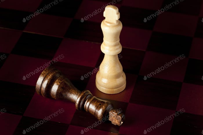 Classic Wooden Chessboard with Chess Pieces