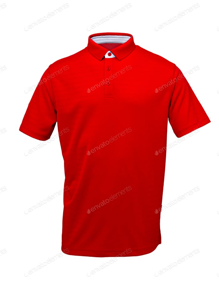 Golf red  tee shirt  with white collar on  white background