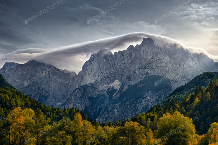 Mountain range landscape view near Lake Jasna, Triglav NP, Slovenia