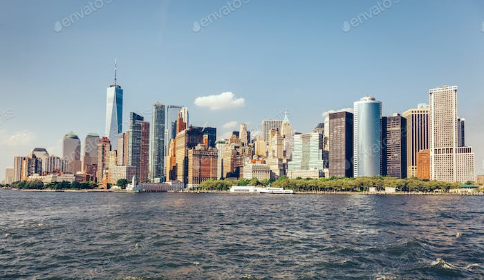 Manhattan panorama in New York City, the USA.