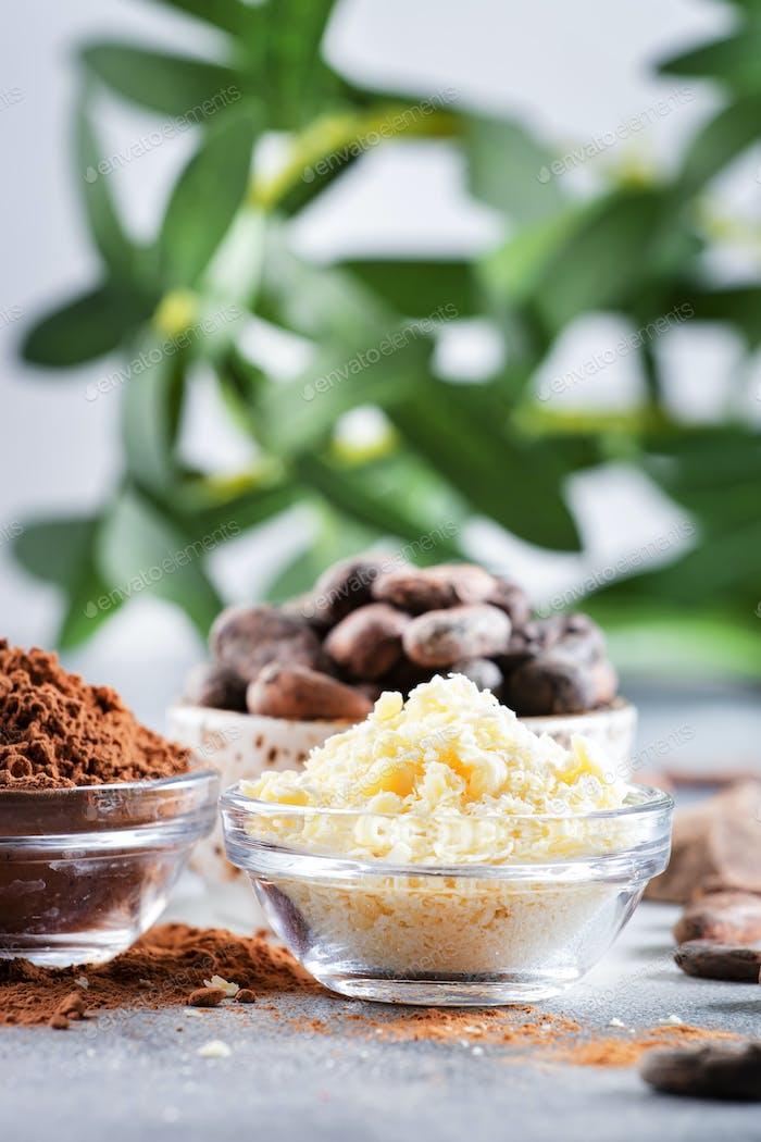 Manteca orgánica de cacao, granos de cacao, bulto rallado, chocolate negro