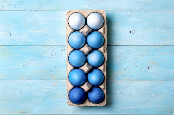 Blue ombre eggs as Easter 2020 concept