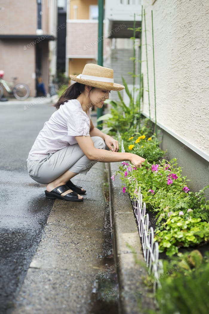 Family home. A woman crouching and planting flowers in a small strip of soil.