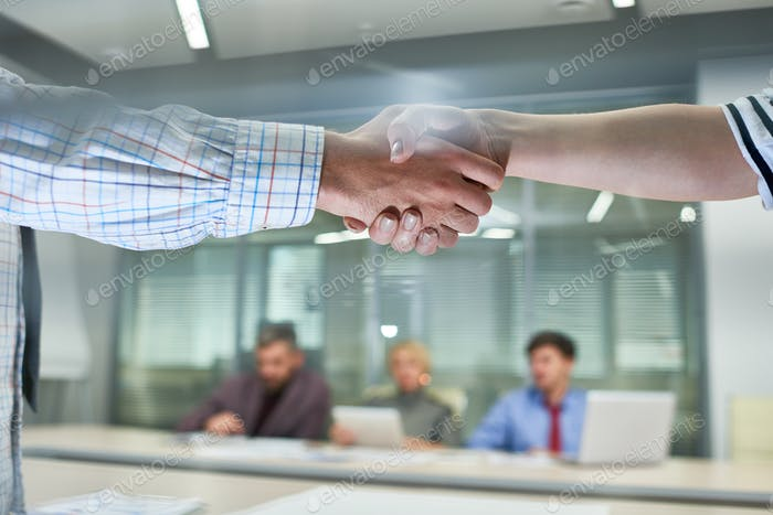 People Shaking Hands at Meeting  Close Up