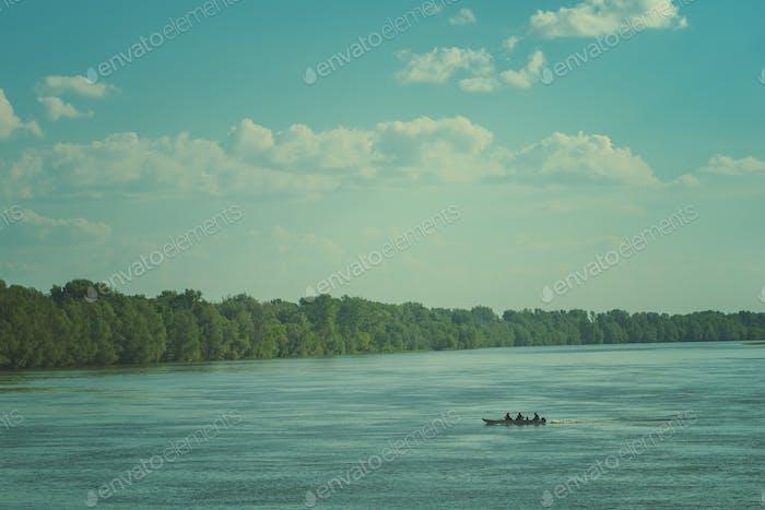 Small fishing boat on Danube river