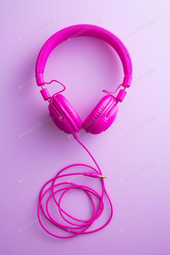 Pink vintage headphones.