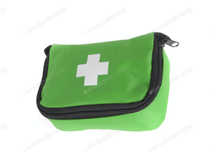 First aid bag isolated on white