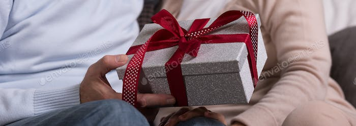 Man gives a gift