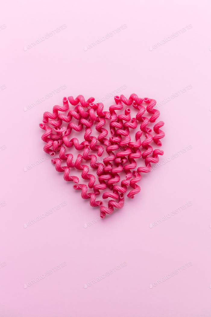 Pink Pasta in Heart Shape