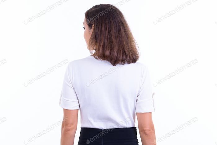 Rear view of businesswoman with short hair