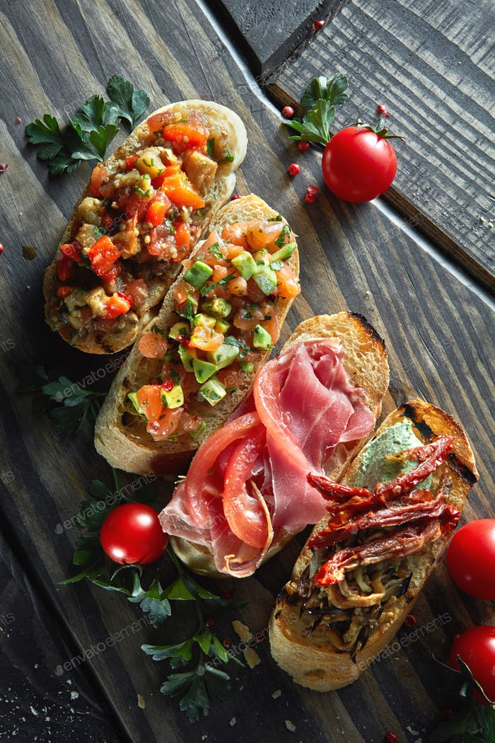 Assorted Italian appetizer bruschetta