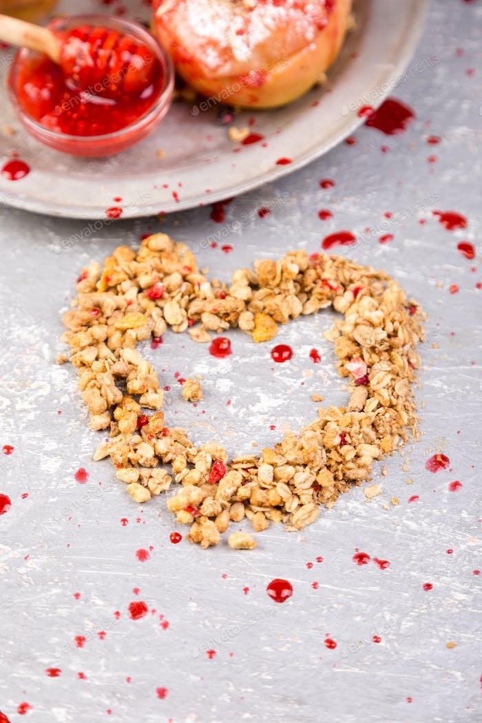 Herz aus Granola