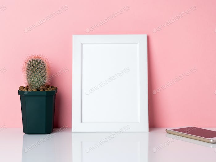 Blank white frame and plantpy space.