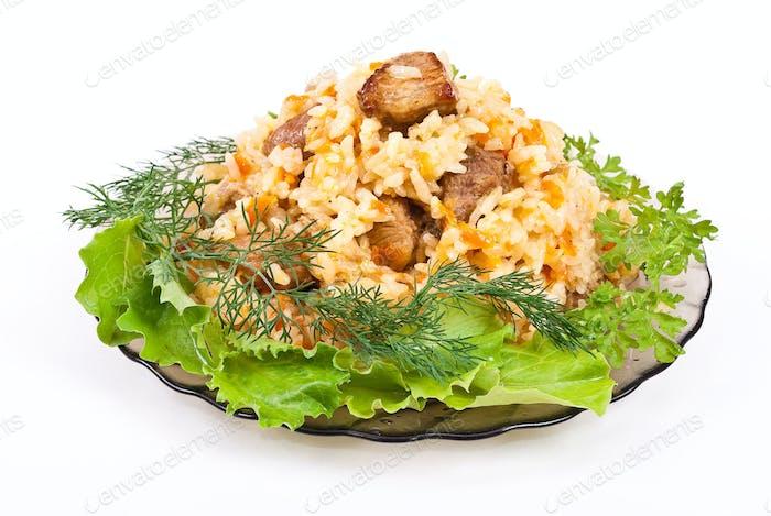 Pilaf on plate