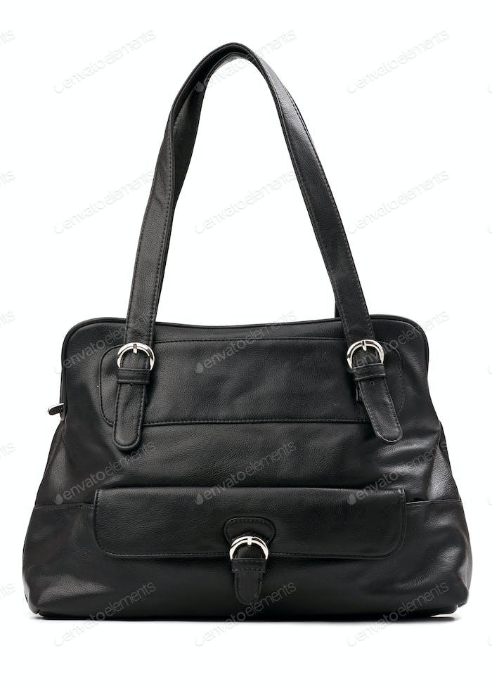 Black female bag isolated over white