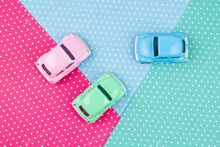 Top view of toy multicolored cars