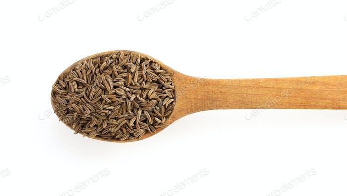 cumin seeds in spoon