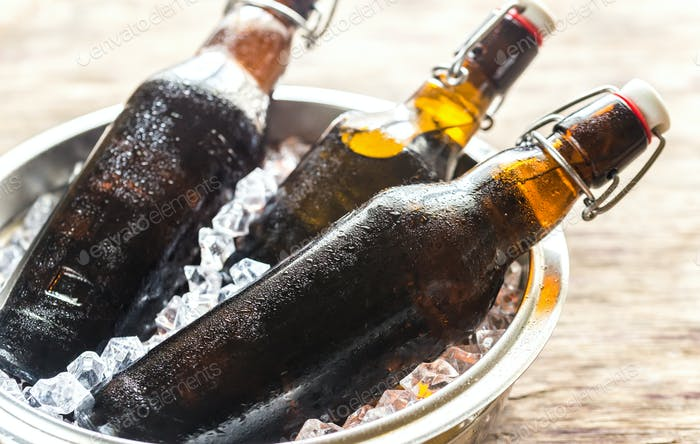 Bottles of beer in ice cubes
